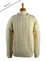 Women's Oversized Wool Cashmere Aran Sweater - Natural White