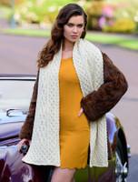Women's Wool Cashmere Aran Honeycomb Scarf
