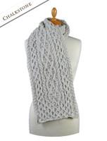 Women's Wool Cashmere Aran Honeycomb Scarf - Chalkstone