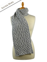 Women's Wool Cashmere Aran Honeycomb Scarf - Silver Marl