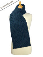 Women's Wool Cashmere Aran Honeycomb Scarf - Forest Glade