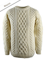 Lattice Cable Aran Sweater - Natural White