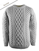 Lattice Cable Aran Sweater - Silver