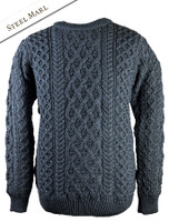 Lattice Cable Aran Sweater - Steel Marl