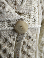 Button Detail of Single Button Two Tone Cardigan