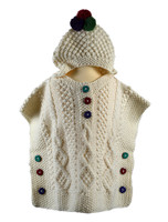 Kids Aran Hooded Poncho - Natural White