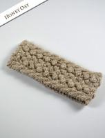 Handknit Aran Headband - Honey Oat