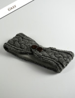 Fleece Lined Aran Headband with Buttons - Grey