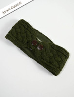Fleece Lined Aran Headband with Buttons - Army Green