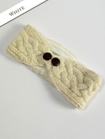 Fleece Lined Aran Headband with Buttons - White