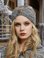 Fleece Lined Aran Cable Headband with Button - Light Charcoal