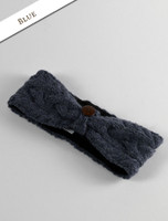 Fleece Lined Aran Cable Headband with Button - Blue