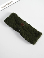 Fleece Lined Aran Cable Headband with Button - Army Green