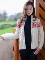 Winter Fair Isle Zip Aran Cardigan