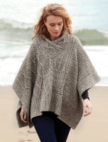 V-Neck Aran Cable Poncho - Soft Pebble