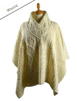 V-Neck Aran Cable Poncho - Natural White