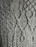 Pattern Detail of V-Neck Aran Cable Poncho