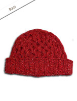 Women's Wool Cashmere Aran Honeycomb Hat - Red