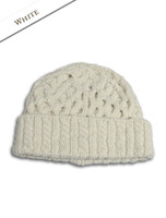 Women's Wool Cashmere Aran Honeycomb Hat - Natural White