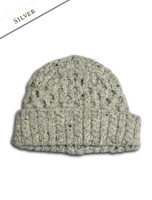 Women's Wool Cashmere Aran Honeycomb Hat - Silver