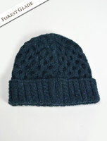 Women's Wool Cashmere Aran Honeycomb Hat - Forest Glade