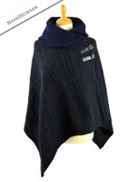 Shawl Collar Herringbone Poncho with Buckle Detail - Navy/Hunter