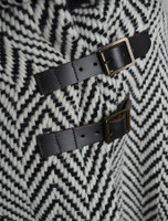Buckle Detail of Shawl Collar Herringbone Poncho with Buckle Detail