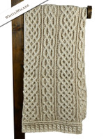 Plaited Aran Throw - White/Wicker