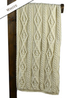 Aran Merino Diamond Throw - White