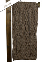 Aran Merino Diamond Throw - Brown