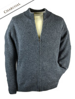 Mens Full Zip Lambswool Cardigan - Charcoal