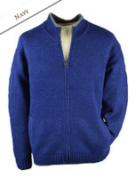 Mens Full Zip Lambswool Cardigan - Navy