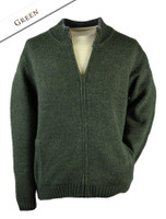 Mens Full Zip Lambswool Cardigan - Green