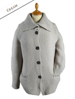 Premium Extra Fine Merino Wool Ribbed Collar Cardigan - Cream