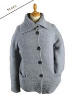 Premium Extra Fine Merino Wool Ribbed Collar Cardigan - Pearl