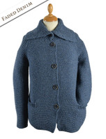 Premium Extra Fine Merino Wool Ribbed Collar Cardigan - Faded Denim