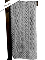 Merino Aran Throw - Silver