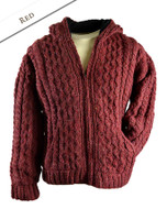 Premium Handknit Fleece Lined Hooded Cardigan - Red