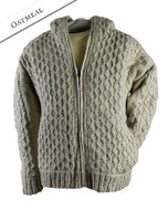 Premium Handknit Fleece Lined Hooded Cardigan - Oatmeal