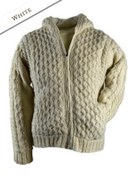 Premium Handknit Fleece Lined Hooded Cardigan - White