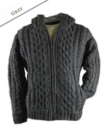 Premium Handknit Fleece Lined Hooded Cardigan - Grey