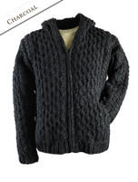 Premium Handknit Fleece Lined Hooded Cardigan - Charcoal