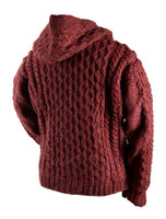 Premium Handknit Fleece Lined Hooded Cardigan - Back