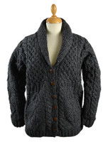 Premium Handknit Fleece Lined Buttoned Cardigan - Charcoal
