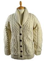 Premium Handknit Fleece Lined Buttoned Cardigan - White