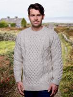 Premium Handknit Heavyweight Aran Sweater - Oatmeal