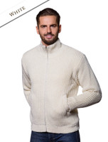 Premium Handknit Fleece Lined Ribbed Jacket - White
