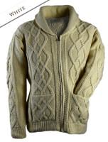 Premium Handknit Shawl Neck Zip Cardigan - White