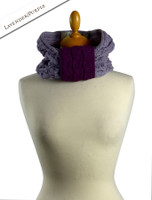Aran Two-Tone Snood Scarf - Lavender