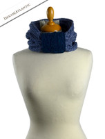Aran Two-Tone Snood Scarf - Denim